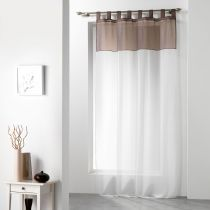 "Rideau Voilage ""Duo"" 140x240cm Blanc & Taupe"