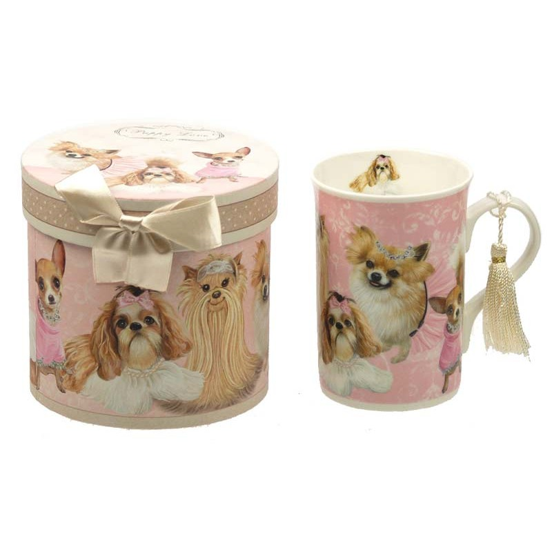 mug en porcelaine chien coffret cadeau. Black Bedroom Furniture Sets. Home Design Ideas