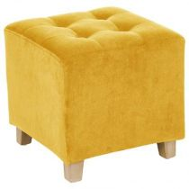 "Pouf ""Leandre"" Velours Moutarde"