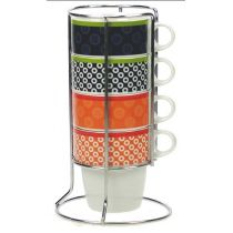 "Set de 4 Mugs ""Cercles"" avec Rack"
