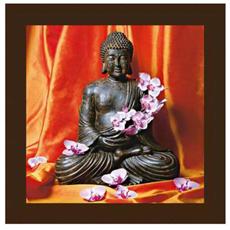 cadre toile zen statue bouddha 28x28cm orange. Black Bedroom Furniture Sets. Home Design Ideas