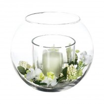 "Composition Florale & Bougie ""Lumina"" 18cm Transparent"
