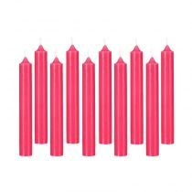 "Lot de 10 Bougies Bâton ""Basic"" 16cm Fuchsia"
