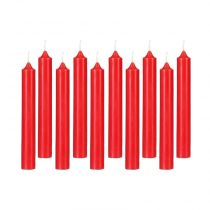 "Lot de 10 Bougies Bâton ""Basic"" 16cm Rouge"