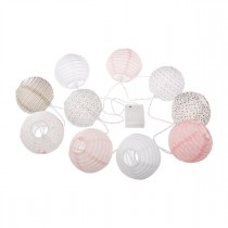 "Guirlande LED ""10 Boules"" 190cm Rose"