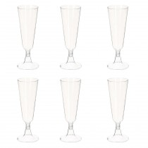 "Lot de 6 Flûtes à Champagne Plastique ""Taste"" 140ml Transparent"