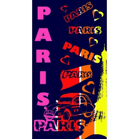 Drap de Plage I Love Paris 86x160cm Multicolore