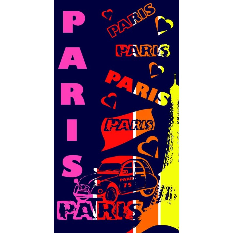 drap de plage i love paris 86x160cm multicolore. Black Bedroom Furniture Sets. Home Design Ideas