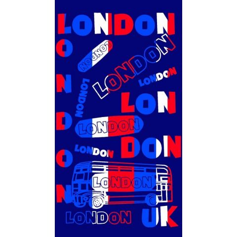 Drap de Plage London Tour 86x160cm Bleu