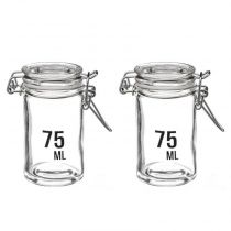 "Lot de 2 Bocaux en Verre ""Ecriture"" 75ml Transparent"