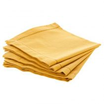 "Lot de 4 Serviettes de Table ""Chambray"" 40cm Ocre"