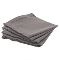 "Lot de 4 Serviettes de Table ""Chambray"" 40cm Gris Foncé"
