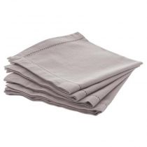 "Lot de 4 Serviettes de Table ""Chamb"" 40cm Gris Clair"