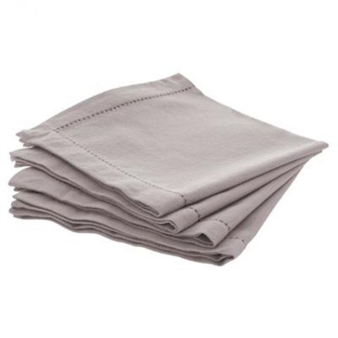 "Lot de 4 Serviettes de Table ""Chambray"" 40cm Gris Clair"