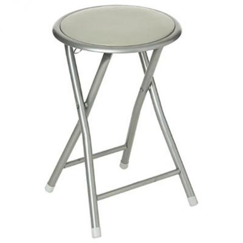 "Tabouret Rond Pliant ""Basic"" 45cm Taupe"