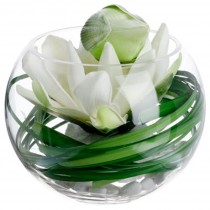 "Composition Florale & Vase ""Lotus"" 21cm Transparent"