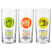 "Lot de 3 Verres ""Fruité"" 29cl Multicolore"