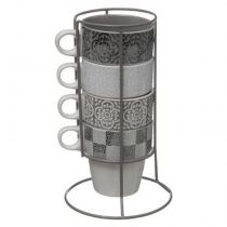 "Lot de 4 Mugs Sur Rack ""Isalyne"" 8cm Gris"