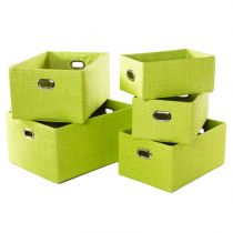 Set de 5 Paniers de Rangement en Papier Vert Anis