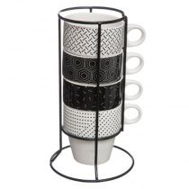 "Lot de 4 Mugs Sur Rack ""Motif"" 8cm Blanc & Noir"