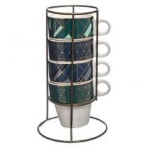 "Lot de 4 Mugs Sur Rack ""Aliya"" 8cm Blanc"