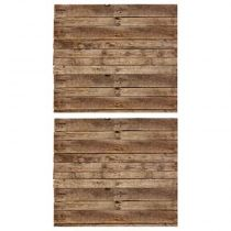 "Lot de 2 Stickers Muraux ""Bois"" 70x80cm Naturel"