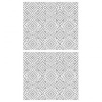 "Lot de 2 Stickers Muraux ""Arabesque"" 70x80cm Gris"