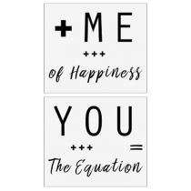 "Lot de 2 Stickers Muraux ""You & Me"" 70x80cm Blanc"