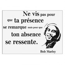 "Sticker Mural Citation ""Marley"" 50x70cm Noir & Blanc"