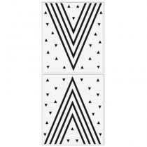 "Lot de 2 Stickers Muraux ""Triangle"" 70x80cm Blanc"