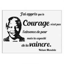 "Sticker Mural Citation ""Mandela"" 50x70cm Noir et Blanc"