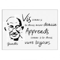 "Sticker Mural Citation ""Gandhi"" 50x70cm Noir & Blanc"