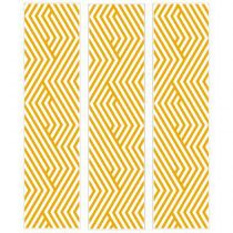 "Lot de 3 Stickers de Tiroirs ""Lignes"" 22x80cm Moutarde"