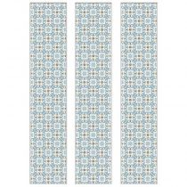 "Lot de 3 Stickers Escaliers ""Carrés"" 20x100cm Bleu"