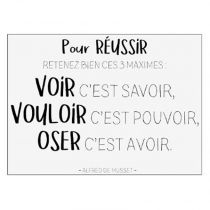 "Sticker Mural Citation ""De Musset"" 50x70cm Noir & Blanc"