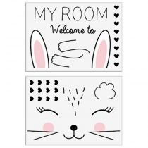 "Lot de 2 Stickers Kids ""Lapin"" 50x70cm Noir"
