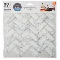 "Lot de 2 Stickers Carrelage ""Marbre"" 26x28cm Blanc"