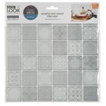 "Lot de 2 Stickers Carrelage ""Carreaux"" 26x28cm Gris"