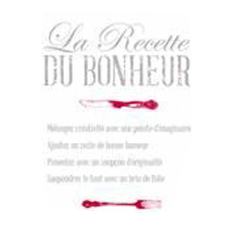 stickers cuisine la recette du bonheur 50x70cm. Black Bedroom Furniture Sets. Home Design Ideas